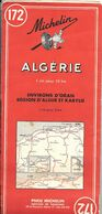 CARTE-ROUTIERE-MICHELIN-N °172-1956-ALGERIE-Env ORAN ALGER-et KABYLIE-B E- Plis Pas Coupés-Prix Alger 263Fr - Carte Stradali