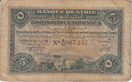 BILLETE DE SIRIA DE 5 PIASTRES DEL AÑO 1919 (BANKNOTE) - Siria