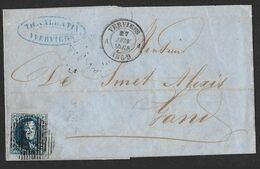 11A Obli. 17 Barres 123 A1 De Verviers A1  CàD Verviers A Le 27 JUIN 1859 Vers Gand  (Lot 555) - 1858-1862 Medaillons (9/12)