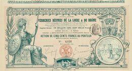 Titre Ancien - Société Anonyme Des Verreries Réunies De La Loire & Du Rhône -Titre De 1892 - Déco - Imprimerie Richard - - Industry