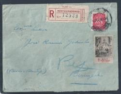 Rare Letter Registered Lisbon 1948. Lacre MG. Vinheta Tuberculose 1948. Erro Na Obliteração De Beringel 1949. TB. - 1910-... République