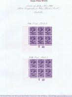 Ireland 1922 Thom Rialtas Blue-black 3d Violet Control T22 Perf Corner Blocks Of 6 Ovpt Plate 6, Plate 8 Mint - Ongebruikt