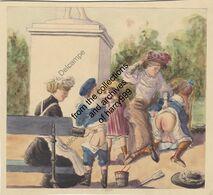 Original Watercolor Painting, Unsigned, Children Discipline Spanking Fessée Corporal Punishment, England Early 1900s - Acquarelli