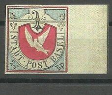 """Canton De Bâle-Ville , """"Colombe De Bâle""""(Basler-Taube), Retirage IMABA  1948 ** BdF - 1843-1852 Correos Federales Y Cantonales"""