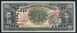1949 PHILIPPINES 20 PESOS (SPECIMEN) Quirino-Cuaderno UNC - Filippine