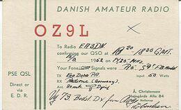 X120888 CARTE QSL RADIO AMATEUR OZ9L DANEMARK DENMARK HELLERUP EN 1952 - Amateurfunk