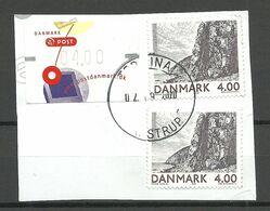 DENMARK Dänemark 2002 Michel 1306 - Landschaft Landscape, 2 Exemplares  ATM-stamp On Cut Out O - Danimarca