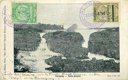 """TROIS BEAUX CACHETS """"ALFONSO - PARAGUAY - 1907"""" - SUR TROIS TIMBRES - Sur CPA - CHUTE DEL QUAIRA FLEUVE HAUT PANAMA - Paraguay"""