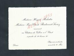 FAIRE PART D INVITATION TYPE CARTE DE VISITE DE Mme HUGUES MALARTRE & Mme BOUTONNET SAVIOZ CHÂTEAU  DE VALBOIS À L ETRAT - Mededelingen