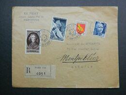 1957 Lettre Recommandée De Paris à Montpellier Blason Aunis Avec Yvert 785, 831, 1004 Et 1079 - 1941-66 Wappen