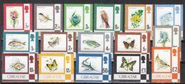 Gibraltar 1977 - Mi.Nr. 348 - 363 - Postfrisch MNH - Tiere Animals Fische Fishes Vögel Birds Schmetterlinge - Gibraltar