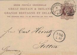 Ganzsache 1880 Paul Hecker & Co London Nach Stettin - 1840-1901 (Regina Victoria)