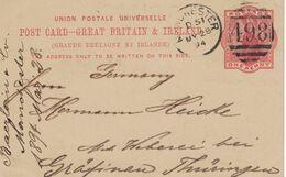 Ganzsache Baerlein & Co 1894 Manchester Nach Gräfinau Thüringen - 1840-1901 (Regina Victoria)