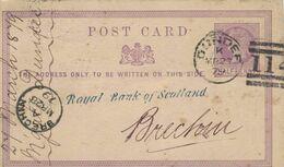 Ganzsache Royal Bank Of Scotland Dundee 1879 Nach Brechin - Inlandsganzsache - 1840-1901 (Regina Victoria)