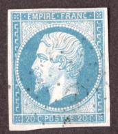 Napoléon III N° 14A Bleu Laiteux Clair - Oblitération Ancre - 1853-1860 Napoléon III.