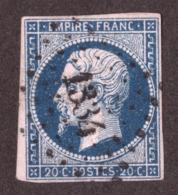Napoléon III N° 14A Bleu Très Foncé - Oblitération PC 1334 Fréjus (Var) - 1853-1860 Napoléon III.