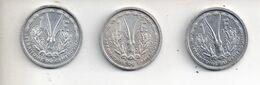 REF MON6 Monnaie Coin Lot 3 Pièces 1 Franc CAMEROUN 1948 - Cameroon