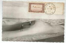 ALGERIE 70C CARTE MAXIMUM LA MER DE SABLE 1.9.1945 + MARIANNE ALGER 80C VERT AU DOS - Algerien (1924-1962)
