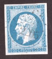 Napoléon III N° 14A Bleu Clair - Oblitération PC 2205 La Mure D'Isère - 1853-1860 Napoléon III.