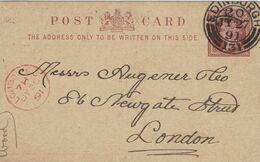 Ganzsache Wood & Co Buchhandel Edinburgh 1891 Nach London (roter Fingerhutstempel) - 1840-1901 (Regina Victoria)