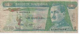 BILLETE DE GUATEMALA DE 1 QUETZAL DEL AÑO 1988 (BANKNOTE) - Guatemala