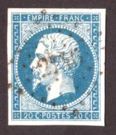 Napoléon III N° 14A Bleu-ciel Vif - Oblitération PC 2146 Montrichard (Loir Et Cher) - 1853-1860 Napoleon III