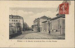 CPA Sceaux Le Marché, La Justice De Paix Et La Rue Houdan A Dardonville Papeterie Parisienne Sceaux CAD 1911 - Sceaux