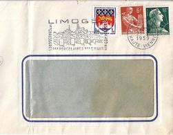 TYPE MARIANNE DE MULLER N°1011A + 1115/1183 SUR LETTRE DE LIMOGES/1959 - 1955- Marianne De Muller