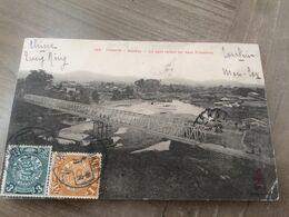 CPA CHINE ASIE VIETNAM TONKIN MONCAY LE PONT RELIANT LES DEUX FRONTIERES (timbres De La Chine - Viêt-Nam