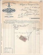 16 . CHARENTE . FACTURE / LETTRE . JARNAC . GRANDE VINAIGRERIE DES CHARENTES . 1917 - 1900 – 1949