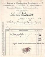 16 . CHARENTE . FACTURE / LETTRE . JARNAC . ENTREPOTS GENERAUX A-J BOUSTON . 1918 - 1900 – 1949