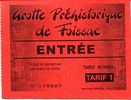 Grotte Préhistorique De Foissac (Aveyron -France) - Toegangskaarten