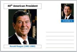 "US Presidents - Souvenir Postcard (glossy 6"" X 4"" [15cm X 10cm] Card) - Ronald Reagan AMERICANA - Other Famous People"