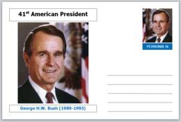 "US Presidents - Souvenir Postcard (glossy 6"" X 4"" [15cm X 10cm] Card) - George H W Bush AMERICANA - Other Famous People"