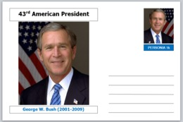 "US Presidents - Souvenir Postcard (glossy 6"" X 4"" [15cm X 10cm] Card) - George W Bush AMERICANA - Other Famous People"