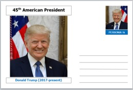 "US Presidents - Souvenir Postcard (glossy 6"" X 4"" [15cm X 10cm] Card) - Donald Trump AMERICANA - Other Famous People"