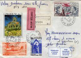 France Pour Bruxelles, Lettre Chargée De 1985,valeur Déclarée, N'habite Plus à L'adresse Indiquée. Tampon Cire Au Dos - Otros