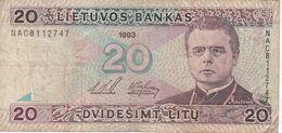 BILLETE DE LITUANIA DE 20 LITU DEL  AÑO 1993   (BANKNOTE) - Lithuania