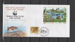 New Zealand 1993 WWF Endangered Animals, Birds, Tusked Weta Set Of 5 On FDC - Unused Stamps