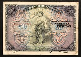 Spagna Espana Alfonso Xiii 50 Pesetas 1906 Vf Pick#58 Forellini  LOTTO 3113 - [ 3] 1936-1975 : Regime Di Franco