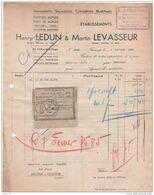 76 Facture Conserves Maritimes Harengs Morues Etc. LEDUN & LEVASSEUR  à FECAMP  1934 -- ( R2 ) - 1900 – 1949