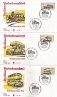 Berlin, 1973, 6 FDC Nr. 446-451, Berliner Verkehrsmittel: Omnibusse - FDC: Briefe