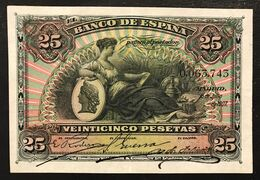 Spagna Espana Alfonso Xiii 25 Pesetas 1907 Xf Pick#62  LOTTO 3137 - [ 3] 1936-1975 : Regime Di Franco