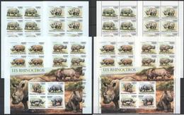 XX706 IMPERF,PERF 2011 BURUNDI FAUNA ANIMALS LES RHINOCEROS 2KB+20SET MNH - Rhinoceros