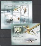 BC841 2010 S.TOME E PRINCIPE AVIATION HENRI FABRE 1KB+1BL MNH - Aviones