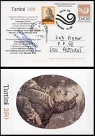 SLOVENIA Postcard GIUSEPPE TARTINI Concert 2020-02-26 Special Postmark CANCELLED BECAUSE OF COVID-19 Orange Stamp - Krankheiten
