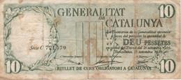 BILLETE DE ESPAÑA DE 10 PTAS DE LA GENERALITAT DE CATALUNYA  DEL AÑO 1936 (BANKNOTE) - 10 Pesetas