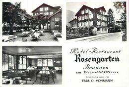 BRUNNEN - Hôtel Restaurant, Rosengarten. (carte Publicitaire Pliable.) - SZ Schwyz