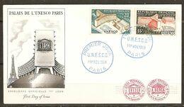 ENVELOPPE FDC UNESCO PARIS 1er NOVEMBRE 1959 PALAIS DE L'UNESCO - FIRST DAY COVER - Y & T N° 1177 1178 - Lettres & Documents