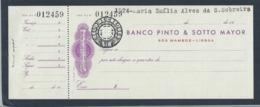 Cheque Do Banco Pinto & Sotto Mayor, São Mamede, Lisboa 1950. Selo De Cheque Em Relevo. BPSM Stamp Of Embossed Check. - Assegni & Assegni Di Viaggio